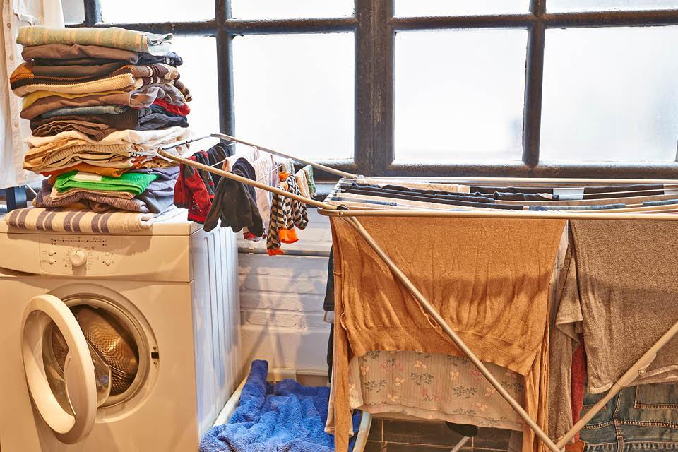 Wäscheberge im Hauswirtschaftsraum