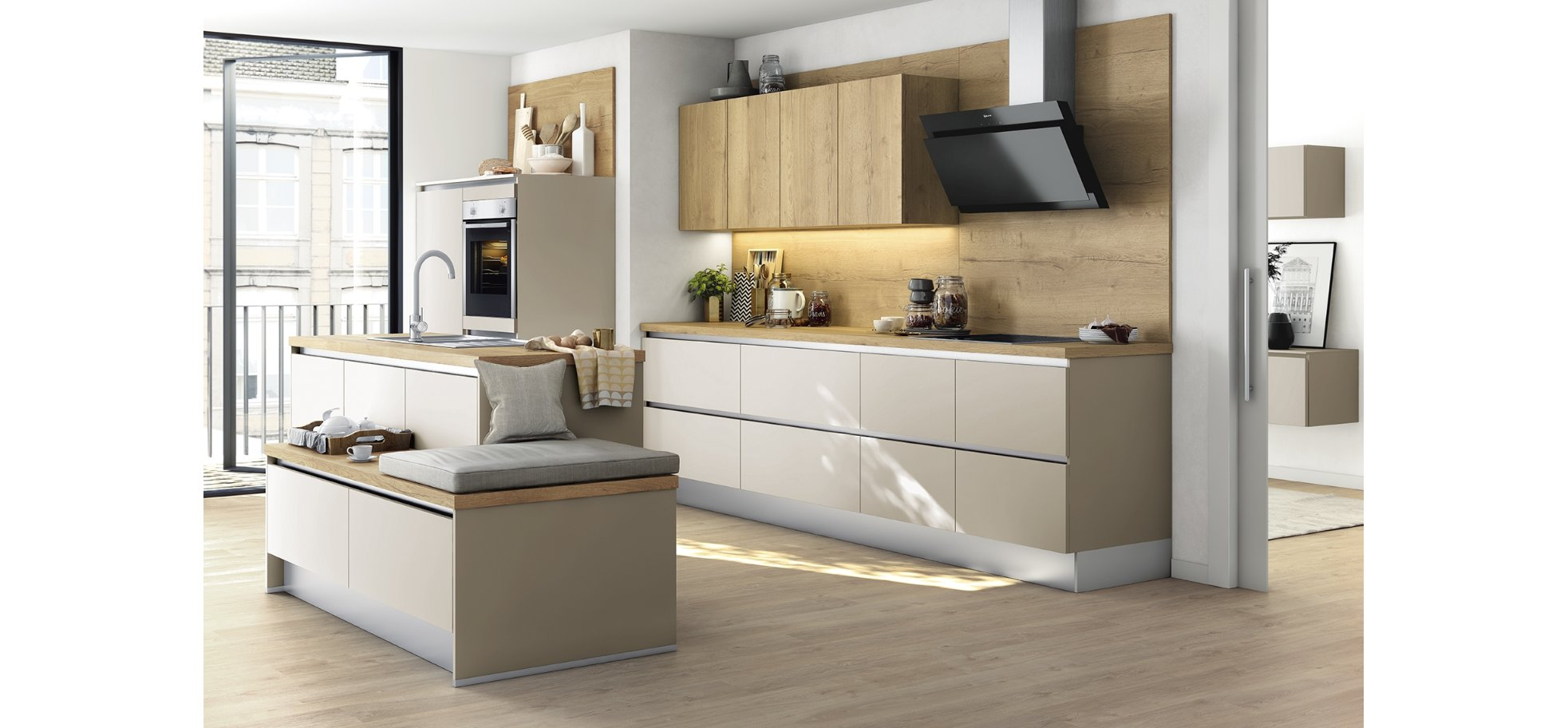 Edle Wohnküche mit RESOPAL® Fronten in Weiß matt - Wuerthner.de